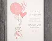 Custom Printable Birthday Invitation, -Teddy (can change the Number on the balloon to whatever age your child is)