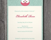 Custom Printable Baby Shower Invitation,-Pink/ green/ cream Owl