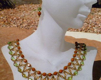 Peridot and Copper Czech Bead Woven Necklace and Earring Set with Light Colorado Topaz Swarovski Crystals