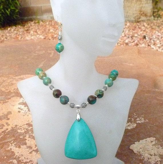 Turquoise and Aqua Terra Jasper Necklace Set