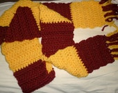 Harry Potter Inspired Gryffindor Scarf Burgundy and Yellow USC Trojans Washington Redskins Chunky, Supersoft