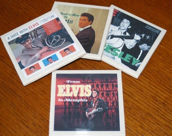 ELvis Presley Rock n Roll Record Cover Art Tile Drink Coasters 4 Piece Set