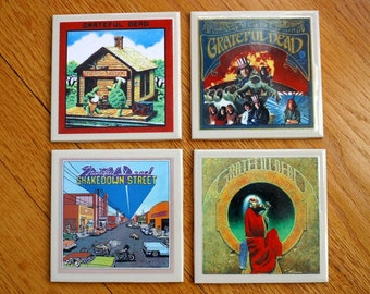 The Grateful Dead Rock and Roll Record Cover Art Tile Drink Coasters 4 Piece Set