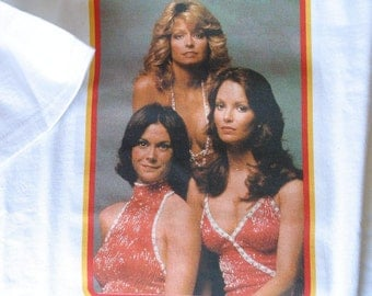 "Charlie's Angels  White Short Sleeve Tee Shirt - ""Hello Angels"" Classic Image"