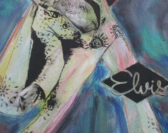 Elvis Presley Silk Screen Print Classic Seventies Jumpsuit Pose Long Live The King
