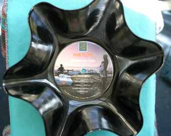 """Pink Floyd Genuine Vintage 33rpm Upcycled LP Record Bowl Featuring """" A Momentary Lapse of Reason"""""""