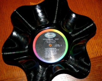 "The Beatles Genuine 33rpm Upcycled LP Record Bowl featuring ""Something New"" on Orginal Capitol Records with Rainbow Label"