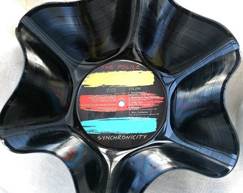 "The Police Genuine 33rpm Upcycled LP Record Bowl featuring   ""Synchronicity"" With Beautiful Label"