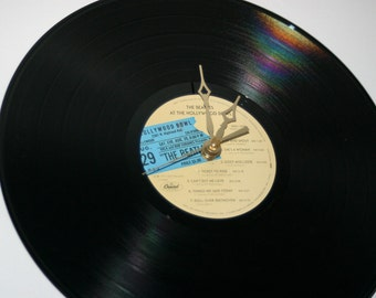 """Beatles  Original Live At  The Hollywood Bowl"""" on Capitol Records Beautiful Label  33RPM LP Upcycled Record Clock"""