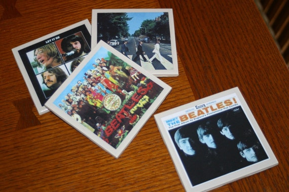 The Beatles Rock and Roll Album Cover Art Tile Drink Coasters 4 Piece Set