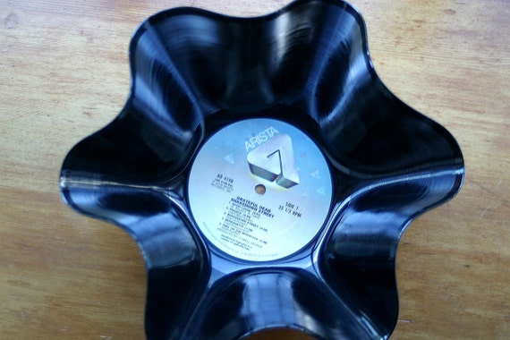 """Genuine Vintage 33rpm Upcycled LP Record Bowl featuring The Grateful Dead """"Shakedown Street"""" on Arista Records"""