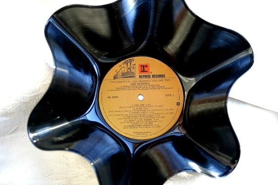 """Jimi Hendrix Genuine Vintage  33rpm Upcycled LP Record Bowl First Pressing """"Essentials"""""""