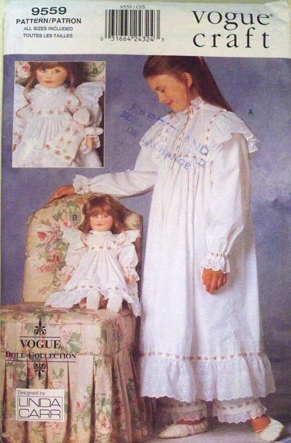 vogue craft pattern 9559 - girl and dolls matching nightgown and pants and dolls' slippers and baby dolly - (1996) - UNCUT
