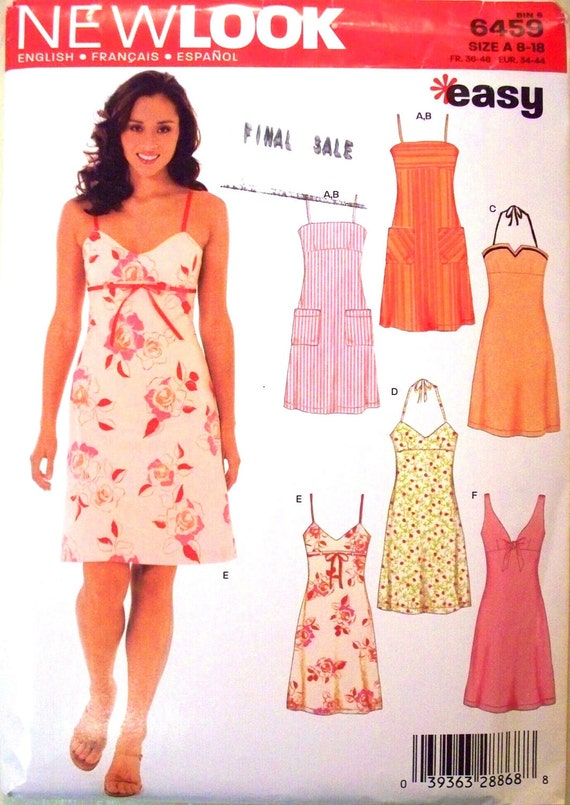 new look pattern 6459 - misses sleeveless dresses in six variations - (2000) - UNCUT