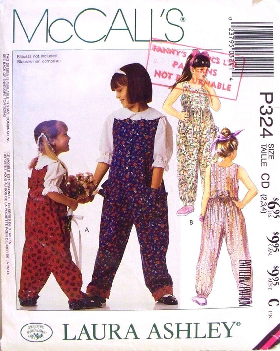 mccalls laura ashley pattern 5516 or P324 - childrens and girls jumpsuit - (1991) - UNCUT