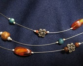 Amber Accents Three-strand Necklace
