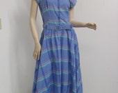 Vintage Plaid Full Skirt JT Dress