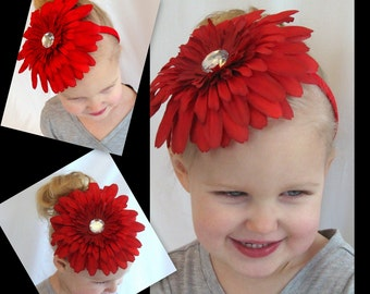 Oversized Daisy Headband in  RED (Glam It Up Collection)