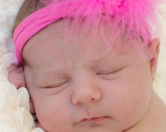 Hot Pink Maribou clip and Headband