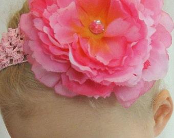 Store Closing Sale!!! Peony flower clip in PINK / ORANGE