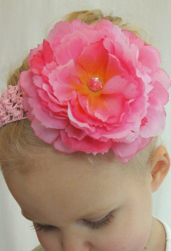 Peony flower clip in PINK / ORANGE