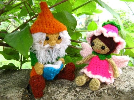 Amigurumi garden gnome and flower fairy crochet pattern PDF garden fairy garden gnome doll making tutorial