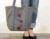 Dark Floral Tote- Tweed and Embroidery