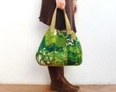 Little Escapada Weekender Hobo Bag - Vintage Screen Printed Linen and Suede Leather