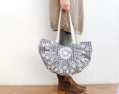 Always Smile, Even on Rainy Days - Pleated Embroidered Gingham Bag