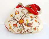 A Piece Of Paradise Hobo Bag - Vintage Crewel Embroidered Linen and Suede Leather