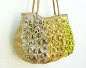 Sakura Bag - Smocked Linen with Leather Details