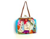 Crazy Patchwork Bag - Vintage Embroidery, Lace, trims, Kiss-lock, Leather, Velvet