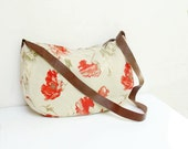 Poppy Love- Floral Cotton Cross Body Shoulder Bag with Leather Strap