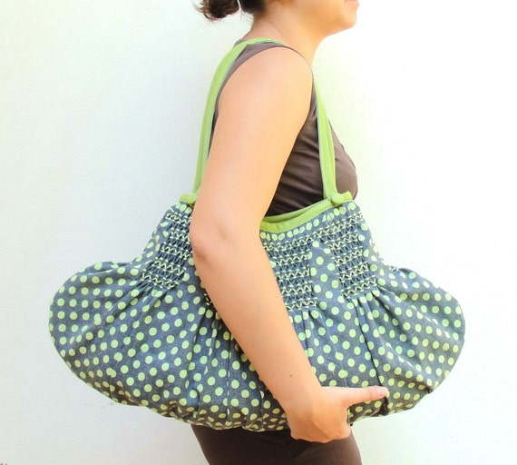 Smocked Polka Dot Pleated Bag - Japanese Linen, Leather
