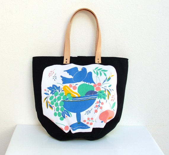 The Tampella Tote - Vintage bird and fruit printed Cotton with Leather handles