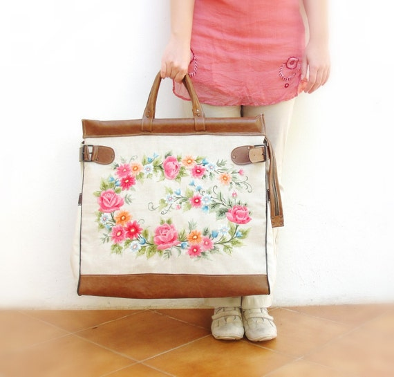 RESERVED Romantic Getaway Weekender - Leather, Embroidery and Canvas