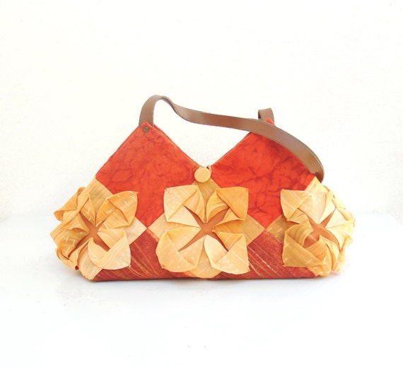 Lotus Flower Bag - Manipulated Vintage Fabric