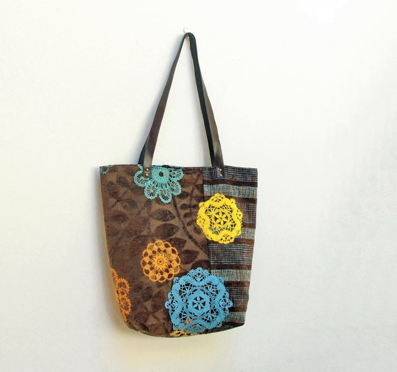Live, Laugh, Love Tote Bag - Upholstery Fabric, Leather and Vintage Doily