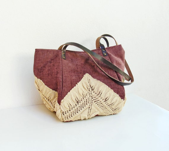 RESERVED for Doris :) Good Old Times- Vintage Doily, Cotton and Leather Bag (last one)