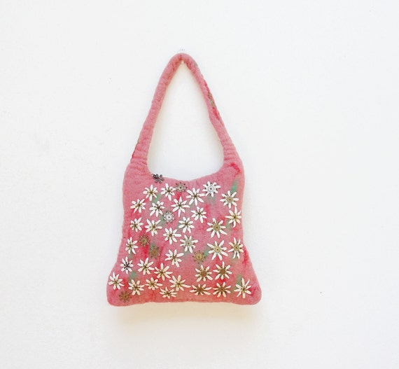 Sweet Blossom Bag- Hand Felted and Embroidered