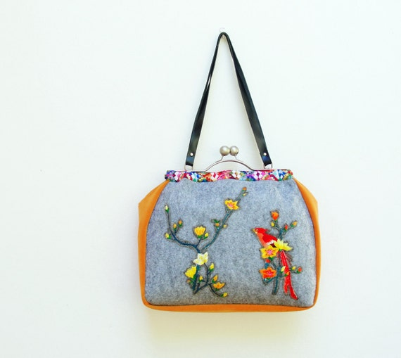 RESERVED Birds Paradise Bag - Vintage Silk Embroidery, Felt, Kiss-lock, Leather