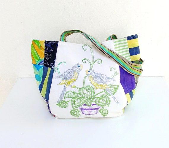 Parakeet Love - Vintage Bird Embroidery and Patchwork (last one)