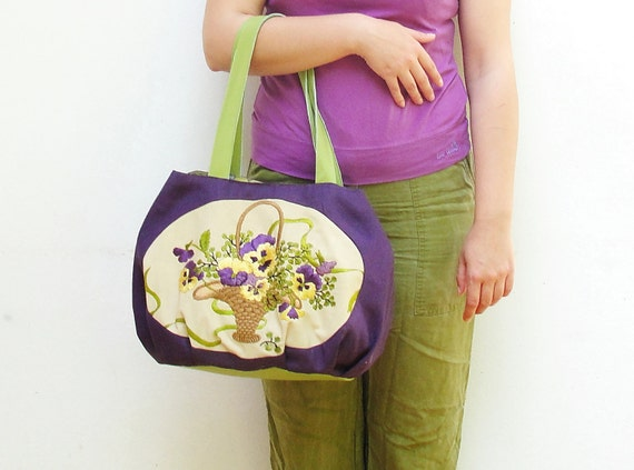 Purple Pansies Hobo Bag - Vintage Embroidered Linen and Leather