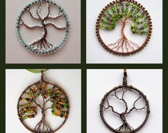 Custom Tree of Life pendant - made to order tree of life pendant, beaded tree pendant
