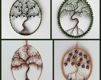 Custom Tree of Life pendant (oval) wire tree of life pendant MADE TO ORDER, beaded wire tree pendant