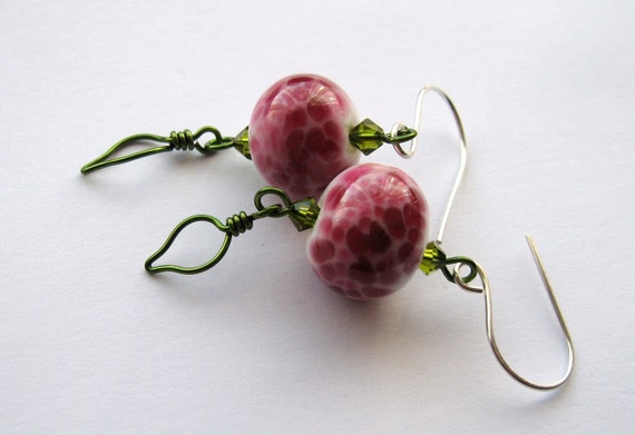 CLEARANCE 20% OFF.  Where The Wild Roses Grow lampwork crystal and wire leaves earrings