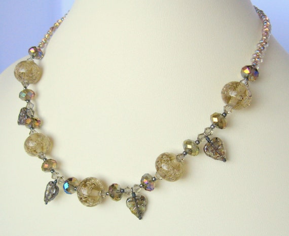 Woodland Waterfall - lampwork glass silver necklace