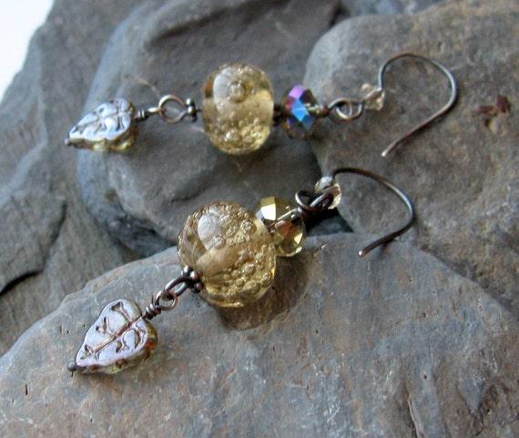 Woodland Waterfall - lampwork glass silver earrings