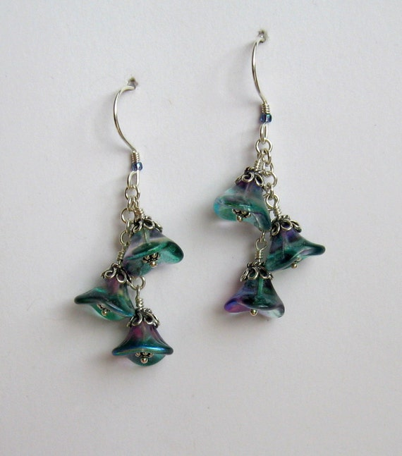 Mirage earrings - Czech glass flower beads with sterling silver
