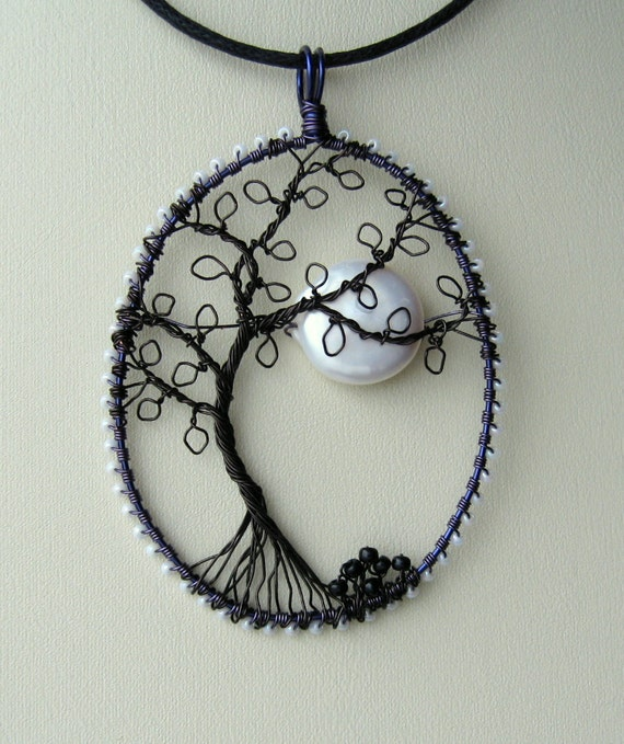 The Witching Hour wire wrapped pendant of a tree in the moonlight